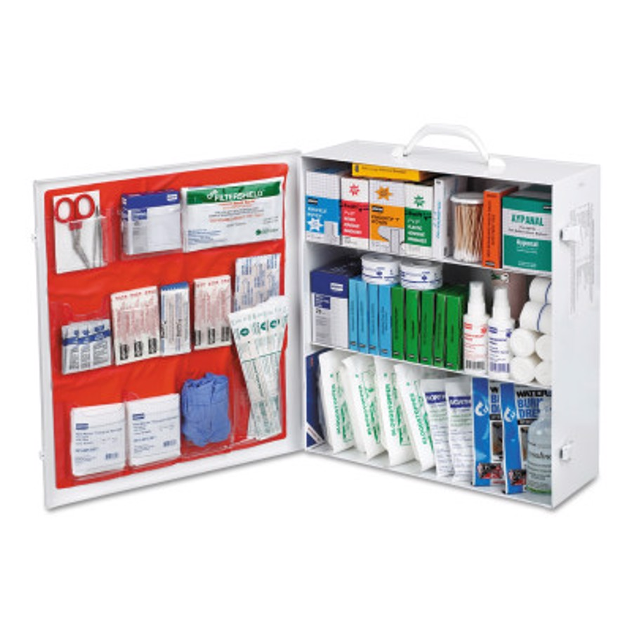 Assorted First Aid Kit, 493-Piece, Steel Case, Stand Alone