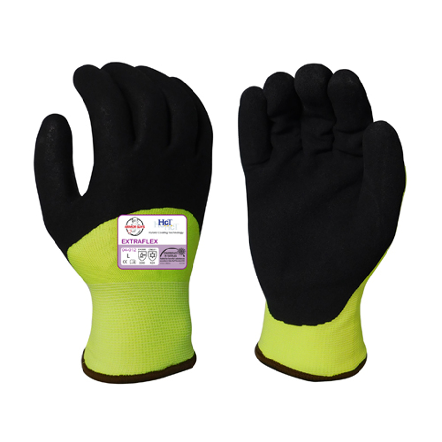13g ExtraFlex Hi-Vis Yellow Nylon Liner With 7g Poly-Acrylic Lining With Black HCT Micro Foam Latex Palm And 3/4 Fingertip Coating