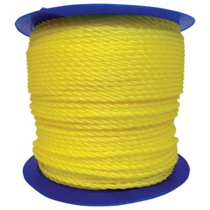 Monofilament Twisted Poly Ropes, 1,200 ft, Polypropylene, Yellow