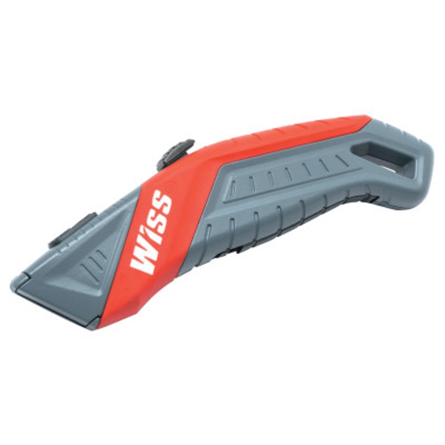 Auto-Retracting Safety Utility Knife, 7 in, Black Oxide, Gray/Red