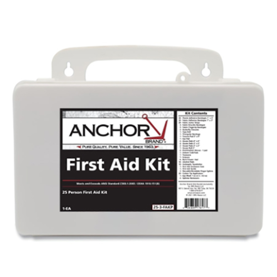 25 Person First Aid Kit, 101-25-3-FAKP, Plastic Case, Wall Mount