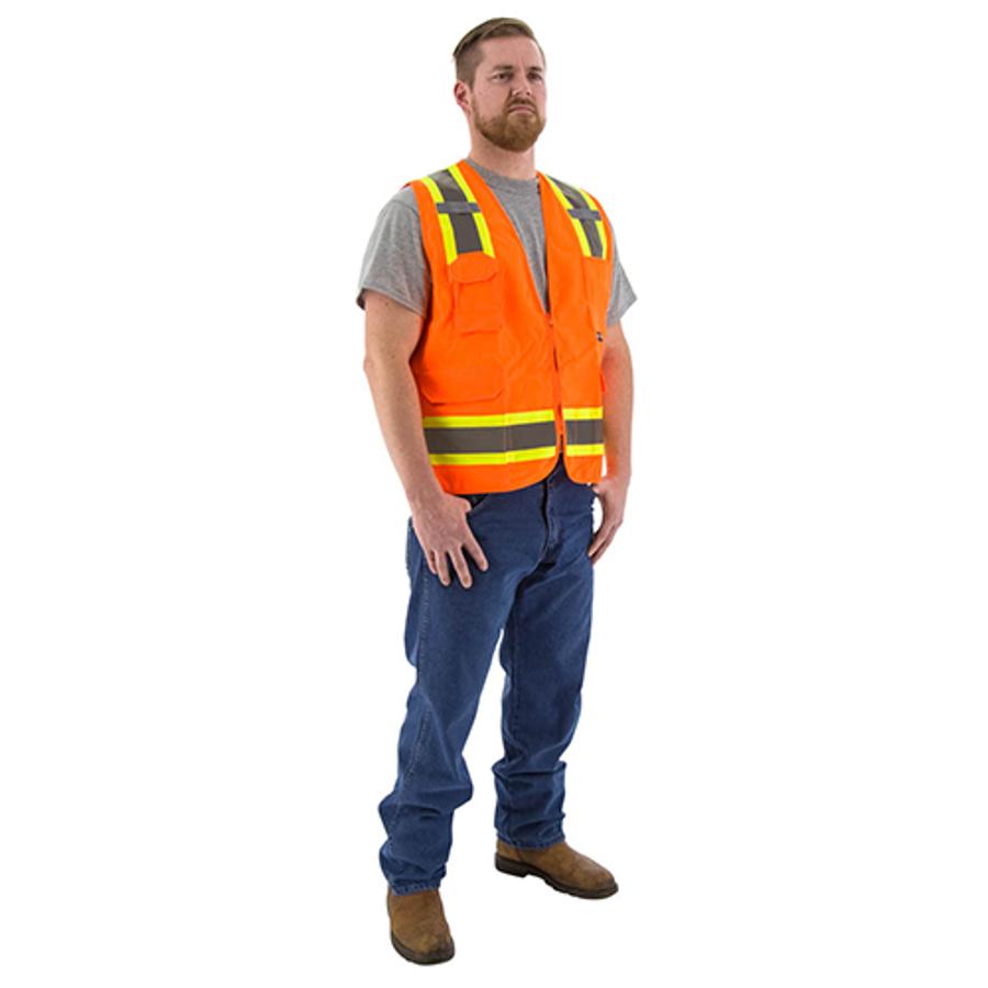 5X-Large, 75-3222 Hi-Vis Orange Surveyors Vest w DOT Striping, ANSI 2