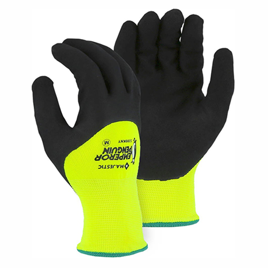 3399KNY Hi-Vis Yellow Winter Lined Nylon Glove with 3/4 Sandy Nitrile Palm