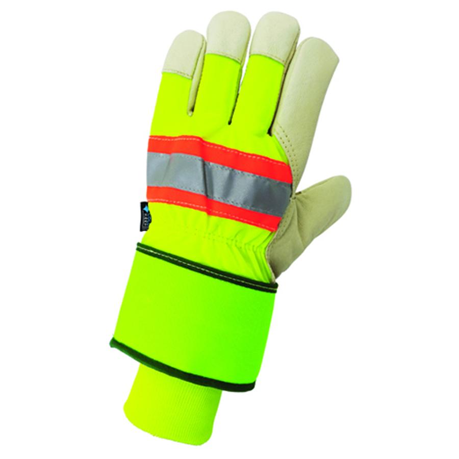 2900HVDC Leather Palm, Hi-Vis Glove