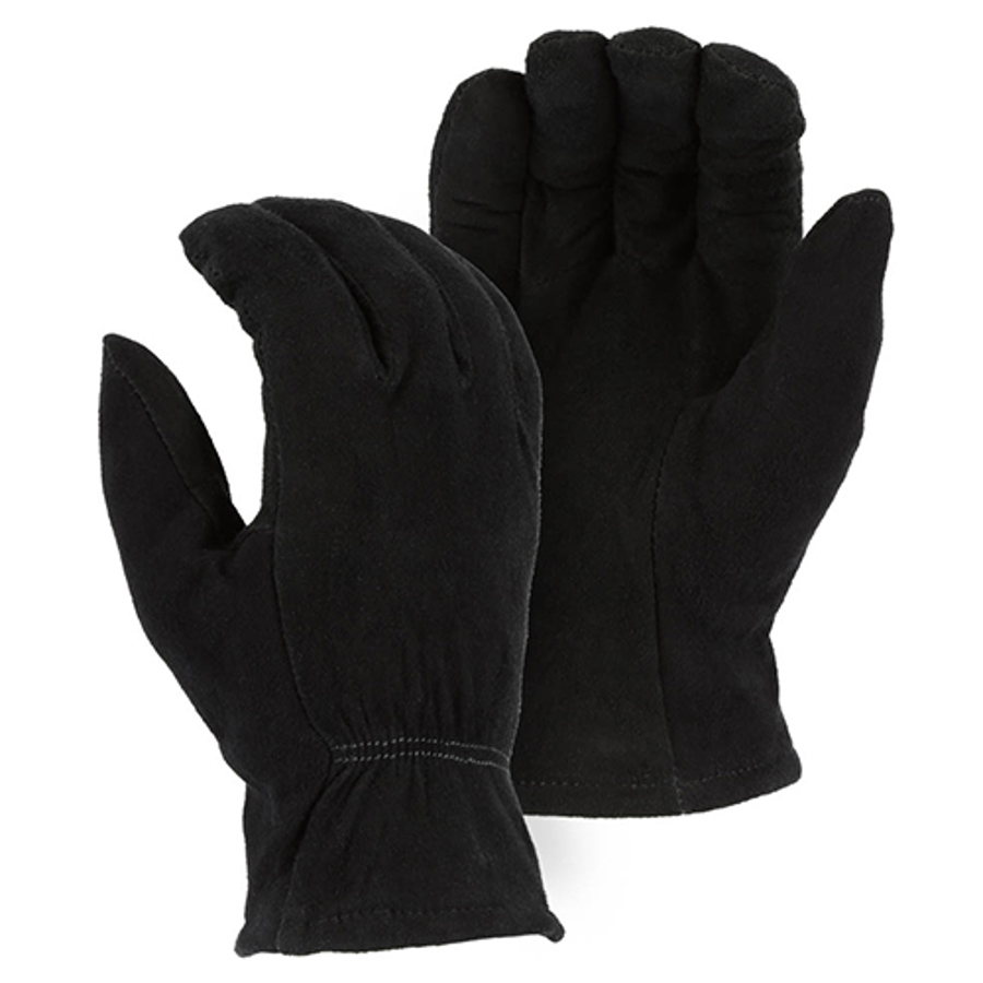 1548BLK Winter Lined Black Deerskin Drivers Glove