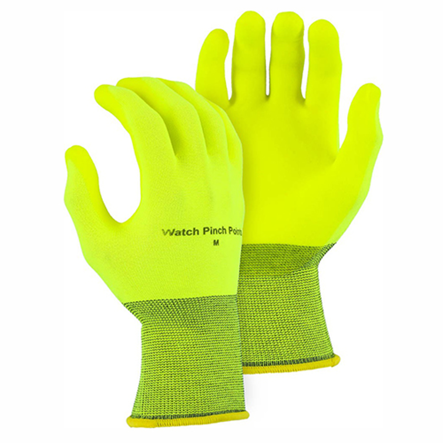 3368HVY Hi-Vis Yellow Hydropellent Palm Dipped Glove on 13-Gaug