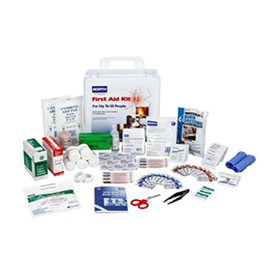 50 Person White Plastic Portable First Aid Kit