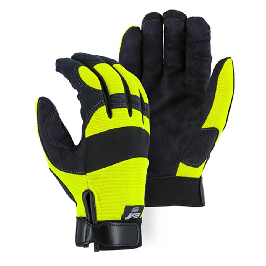 Armor Skin Knit Back Mechanics Glove Hi-Vis Yellow 2137HY, Small