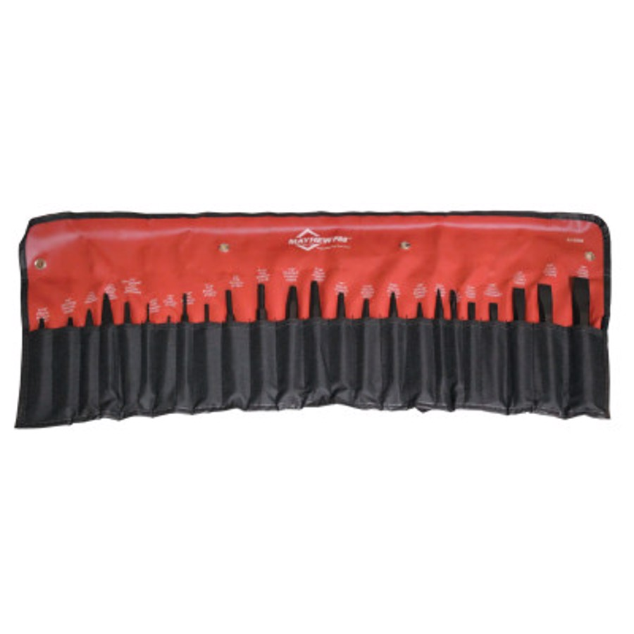 24 Piece Punch & Chisel Kits, Pointed; Round, English, Pouch
