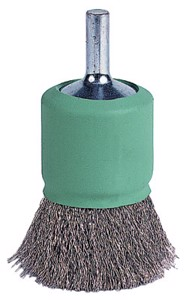 """Coated Cup Crimped Wire End Brush, Stainless Steel, 22, 000 RPM, 1"""" x 0.006"""""""