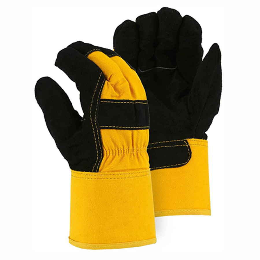 1602 Black/Yellow Winter Lined Cowhide Leather Palm Glove