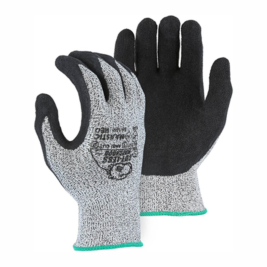 35-1350 Cut-Less Watchdog 13- Gauge Black Crinkle Latex Palm Coating, A2