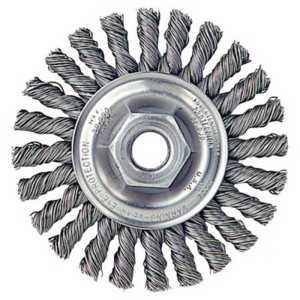 """Cable Twist Knot Wire Wheel, 4"""" D x 1/4 W, .02 Stainless Steel, 20, 000 RPM"""