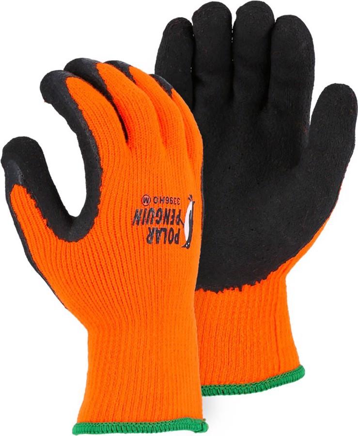 3396HO Polar Penguin Orange Winter Lined Glove w Foam Latex Palm