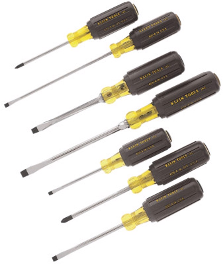 7 Piece Phillips Cushion-Grip Screwdriver Sets, Slotted; Keystone