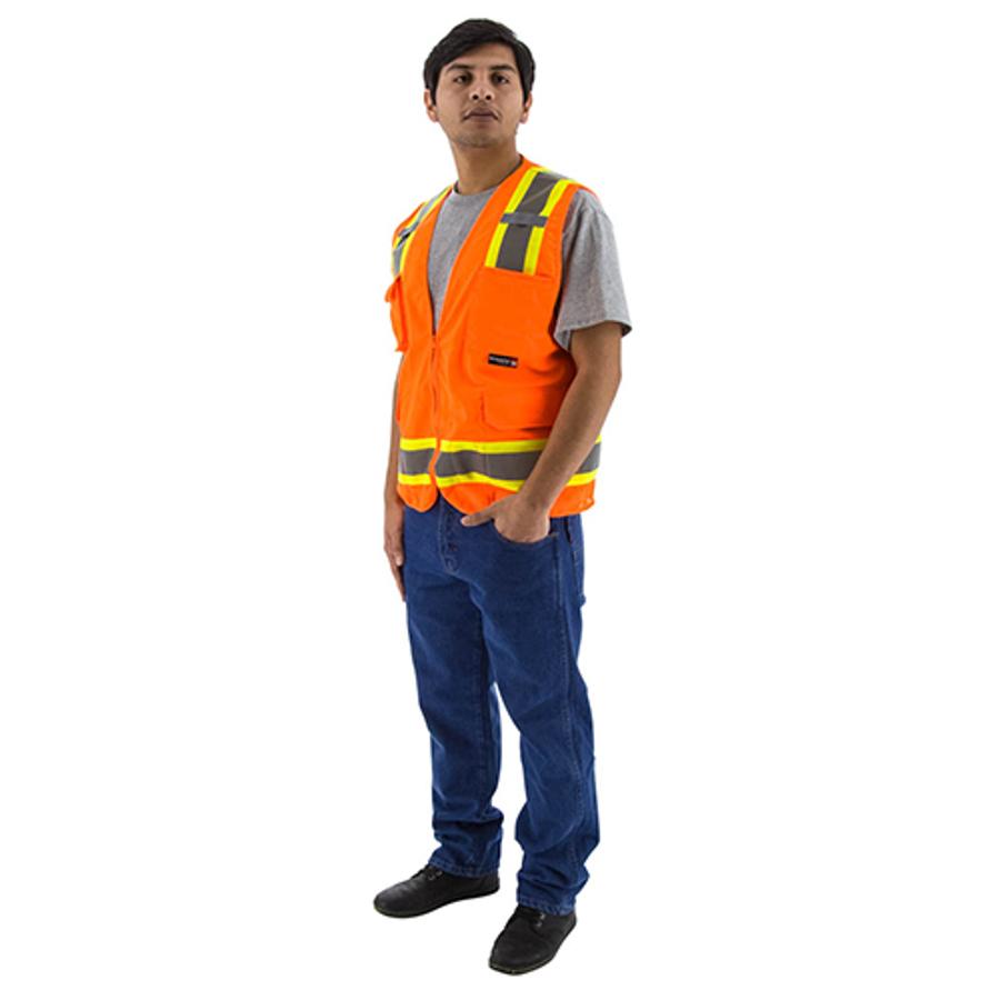 75-3224 Hi-Vis Orange Surveyors Vest w DOT Striping, ANSI 2
