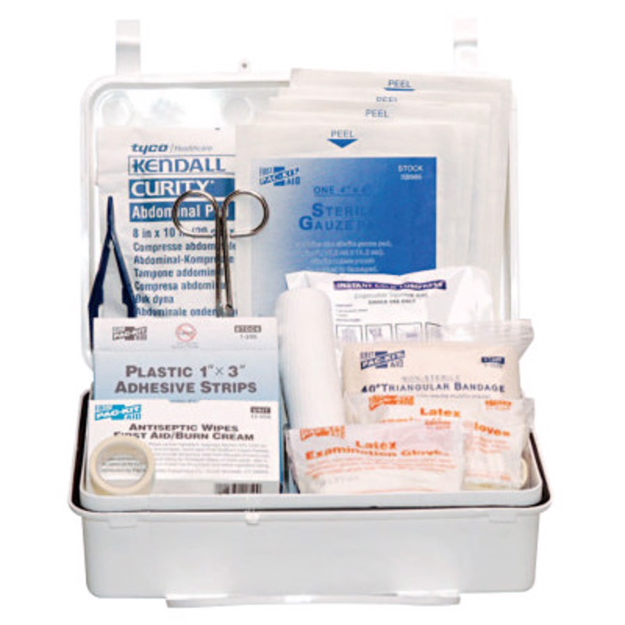 25 Person Industrial First Aid Kits, Weatherproof Plastic, Wall Mount
