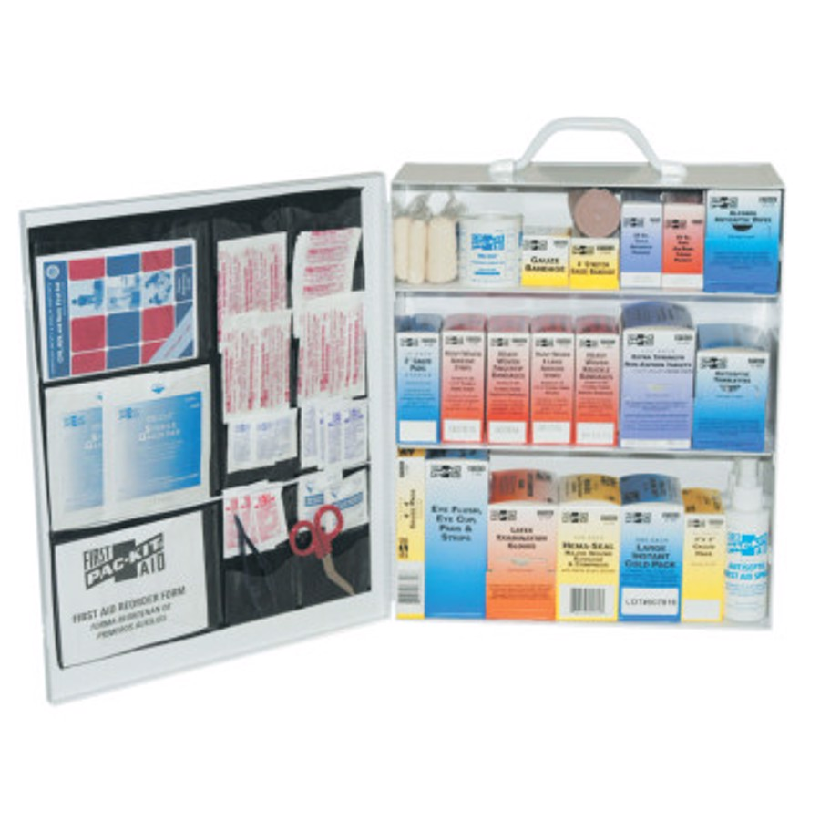 3-Shelf Industrial First Aid Stations, Steel, Wall Mount