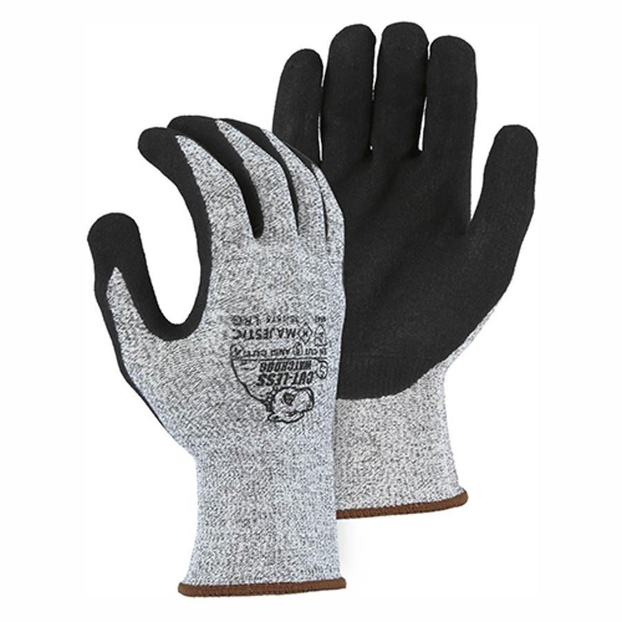 35-1575 Cut-Less Watchdog 13-Gauge Black Sandy Nitrile Palm Coating, A4