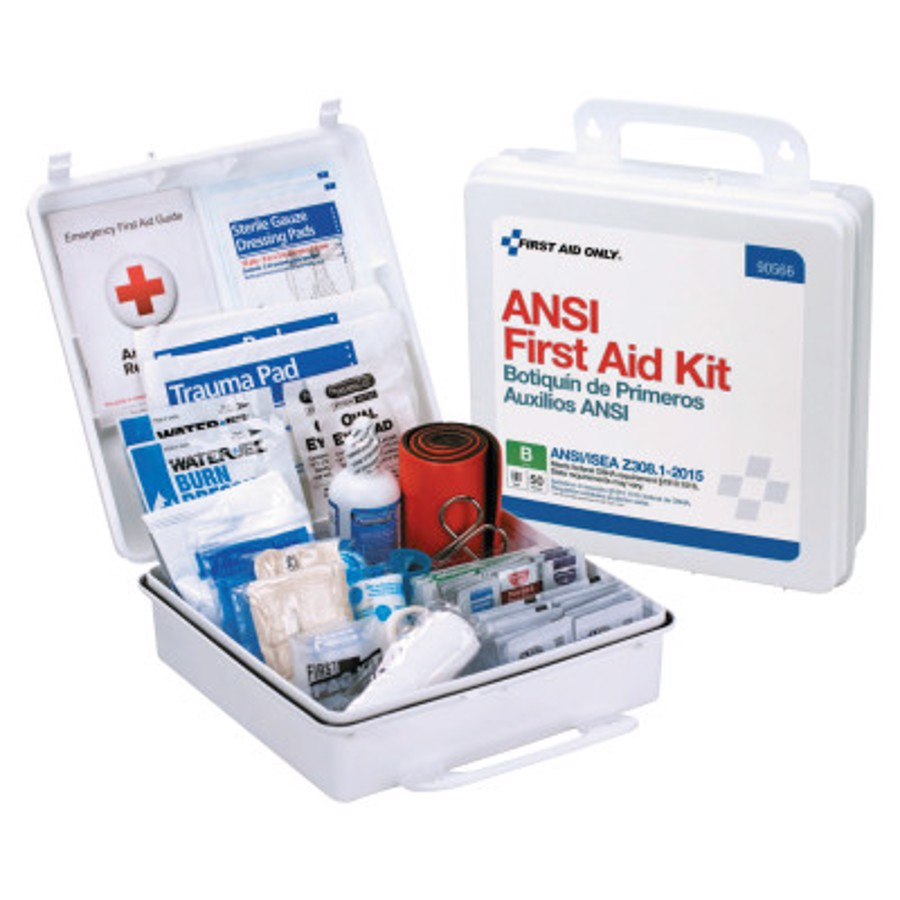 ANSI B Type III Weatherproof 50 Person Bulk First Aid Kits, Plastic, Wall Mount