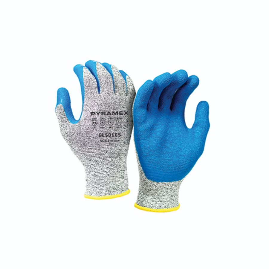 ArchonX Crinkle Latex Gloves, GL501C5, Blue/Gray, Small