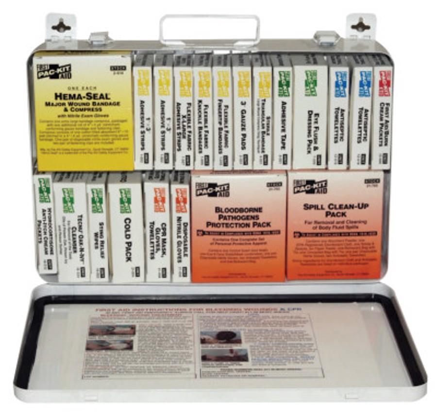 36 Unit Steel First Aid Kits, Weatherproof Steel, Wall Mount