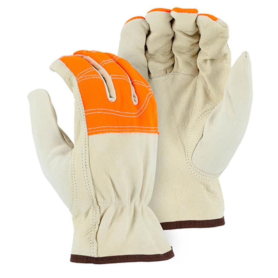 1554HVO Goatskin Drivers Glove with Hi-Vis Orange Cloth Fingers