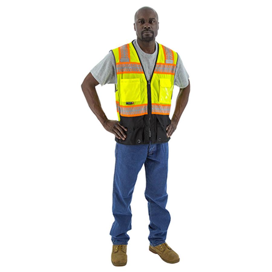 75-3239 Hi-Vis Yellow Mesh Vest w DOT Chainsaw Striping, ANSI 2
