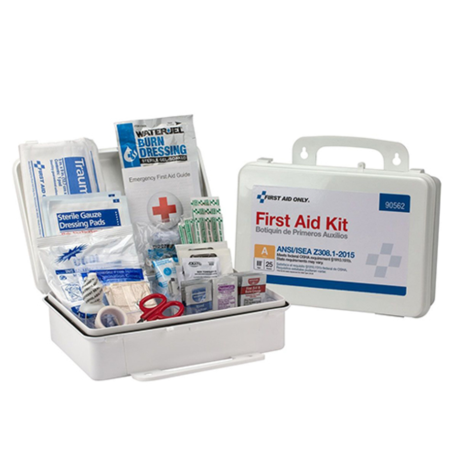 25 Person Bulk First Aid Kit, ANSI 2015 Compliant, Plastic