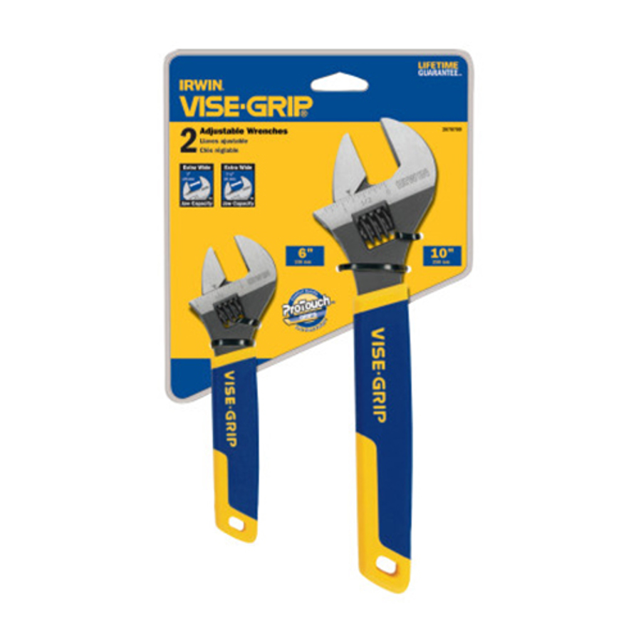 2 Piece Adjustable Wrench Sets,  6 in; 10 in Long