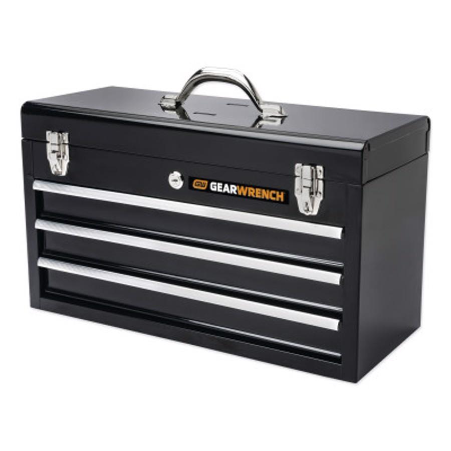 "20"" 3 Drawer Black Steel Tool Box"