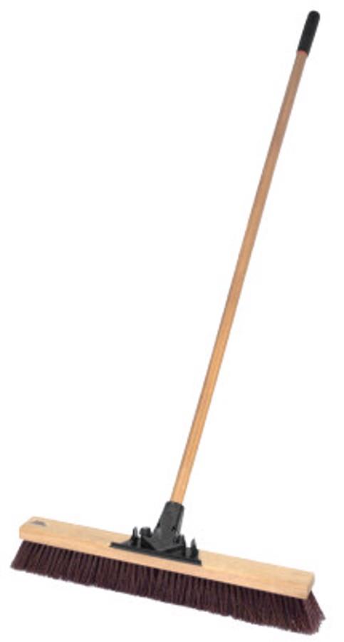 "24"" Pro-Flex Maroon Polypropylene Sweep with 60"" Wood H"