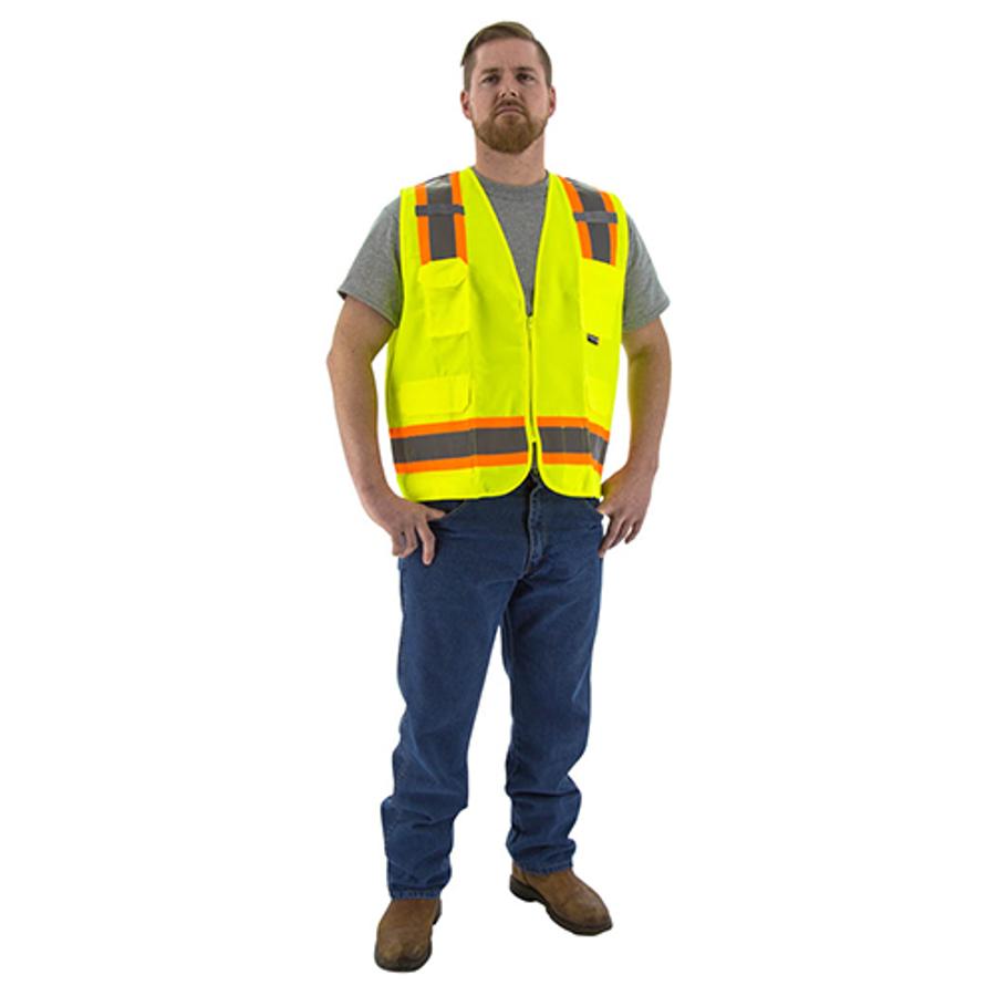 5X-Large, 75-3221 Hi-Vis Yellow Surveyors Vest w DOT Striping, ANSI 2