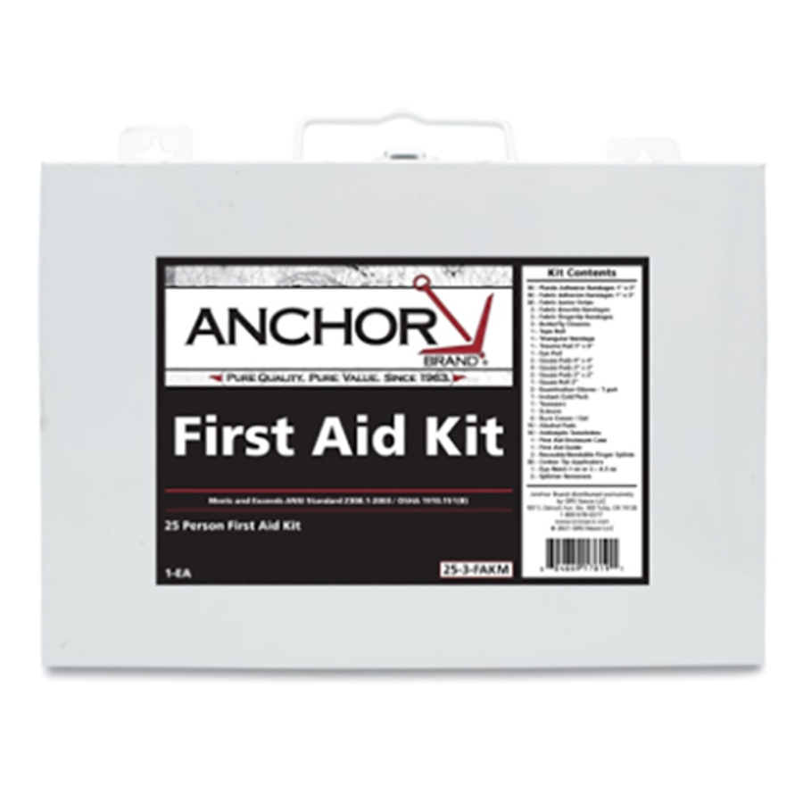 25 Person First Aid Kit, 101-25-3-FAKM, Metal Case, Wall Mount