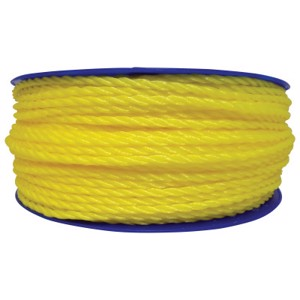 Monofilament Twisted Poly Ropes, 1,080 lb Cap., 600 ft, Polypropylene, Yellow