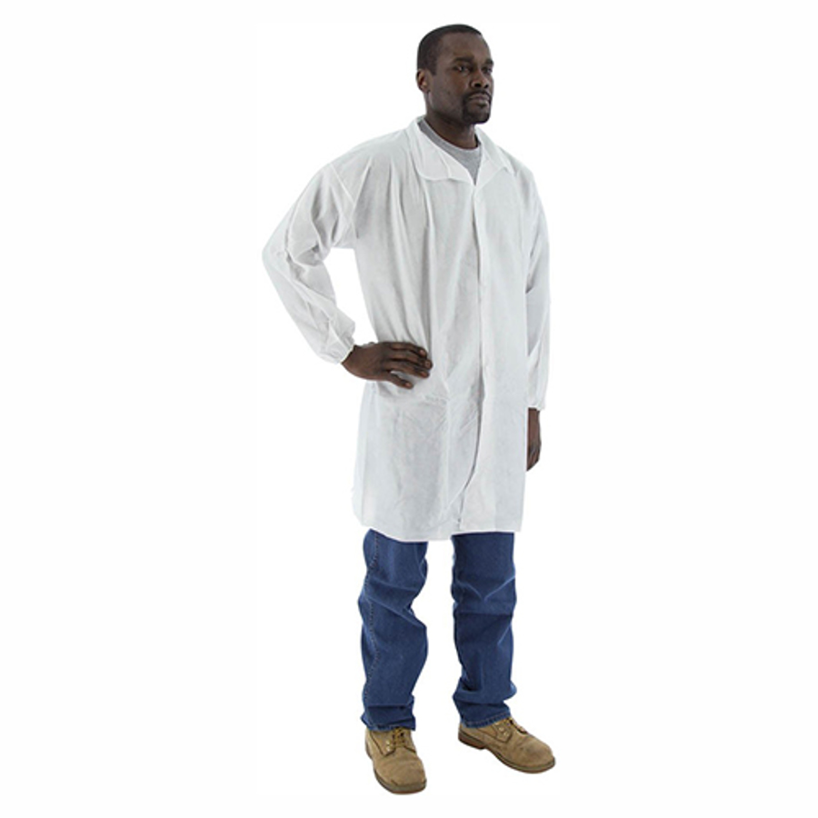 74-401 SMS Lab Coat with Elastic Wrist, Collar & 3 Snaps