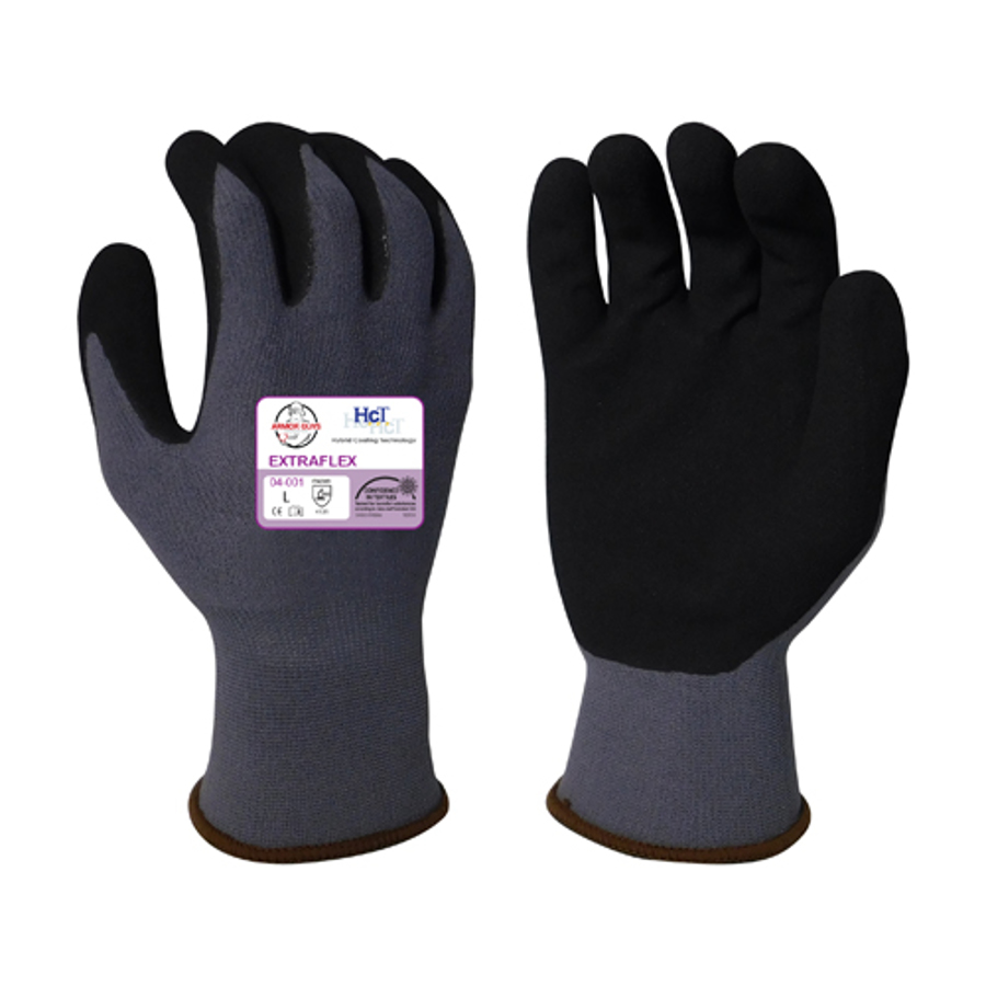 13g ExtraFlex Hi-Vis Yellow Nylon Liner With 7g Poly-Acrylic Lining With Black HCT Micro Foam Latex Palm Coating