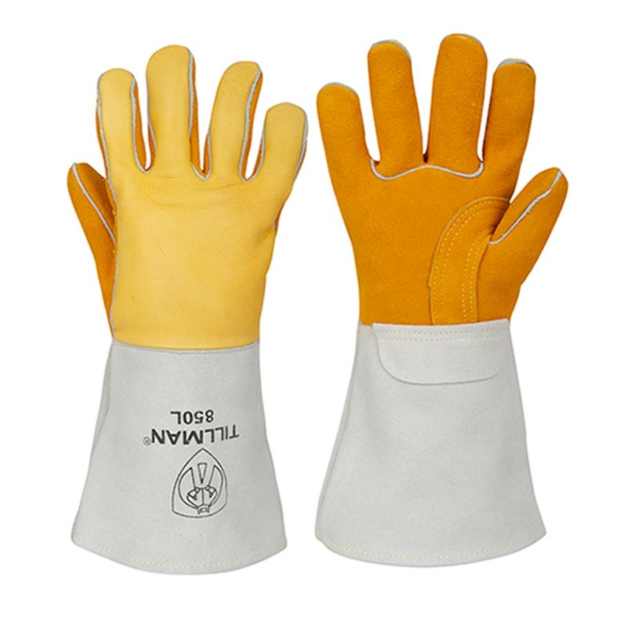 Top Grain & Rough Side Out Top Grain Elkskin Stick Welding Glove, 850, Beige/Brown/Gold